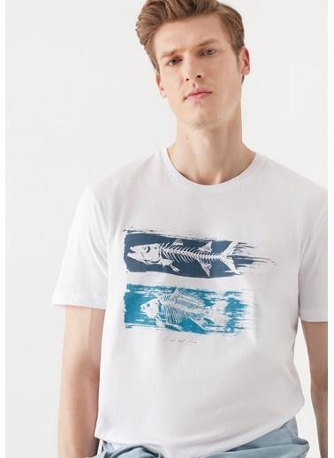 Mavi Kılçık Baskılı  Tişört Beyaz